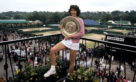 Virginia Wade with her trophy after winning the Wimbledon women's singles championship